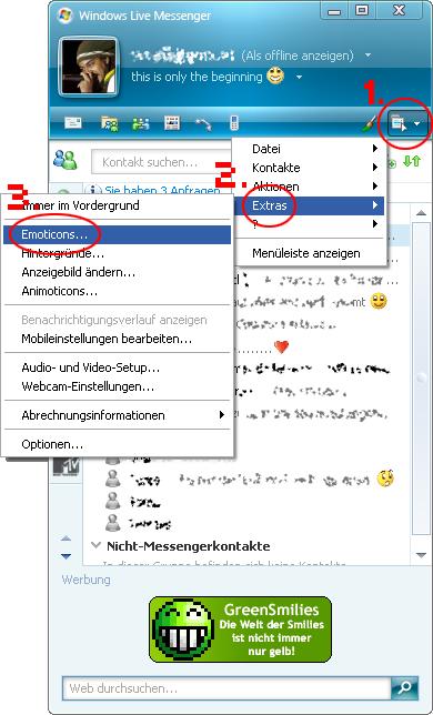 MSN um Smilie erweitern